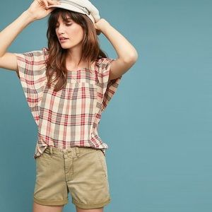 Anthro Maeve Priscilla Plaid Short Sleeve Top XXS